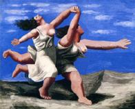 サントリー 1922年「海辺を走る二人の少女(駆けっこ)」 油彩 P 45.jpg
