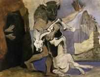 サントリー 1936年ベールをかざす娘に対して、洞窟の前のミノタウロスと死んだ牝馬 油彩 P 45.jpg